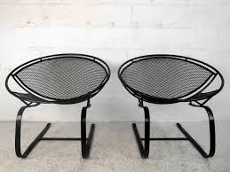 pair mid century modern iron cantilever patio chairs by tempestini