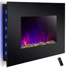wall mount electric fireplace heater in black with tempered glass pebbles logs and remote control