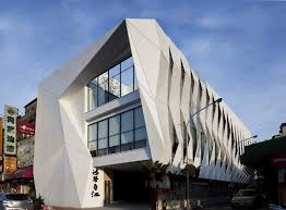 entrance of Unique Architecture with Extravagant Facade Shaped In Dragon  Scales combining two-story lifted