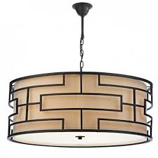 tumola large art deco drum pendant ceiling light bronze with taupe linen shade