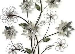 metal wall art silver flower branch