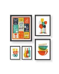 retro colors kitchen prints 5 set kitchen wall art kitchen prints kitchen art set