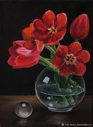 flower painting handmade livemaster handmade oil painting red tulips red