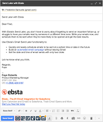 How To Use Email How To Use Send Later Ebsta Knowledge Base