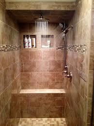 walk-in tile shower, three shower heads, rain shower, tiled bench,