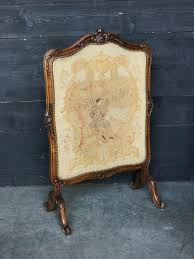 walnut louis xv french fire screen with tapestry
