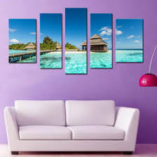 5 pieces wall art canvas painting for home decor maldives tropical island with beach villas beach seascape wooden framed  on tropical wall art uk with shop tropical wall art decor uk tropical wall art decor free