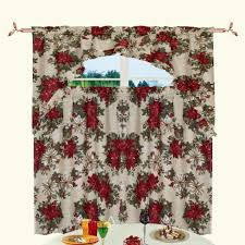 Red Kitchen Curtain Sets Poinsettia Embroidered Christmas Kitchen Curtains Cliff Kitchen
