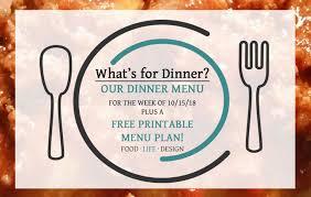 Free Printable Menu Plan Dinner Ideas For The Week 20