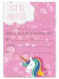 Kids Invitations Unicorn Birthday Party Invitations Invites Children Pink Girls Kids