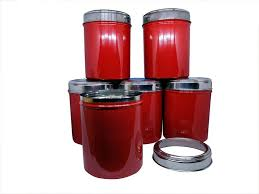 set of 6 red color kitchen storage canisters with see through lid
