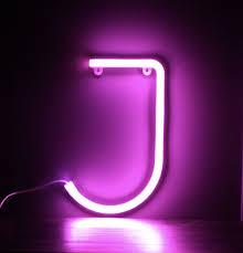 Neon Letter J Pink