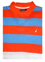 nautica men 39 s short sleeve rugby shirt orange blue and white stripes l in on m alibaba com