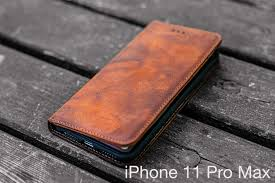 iPhone 11 Pro Max Distressed Brown Leather Wallet Case