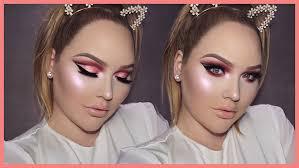 rose gold cut crease smokey eyes thanksgiving makeup tutorial nikkietutorials