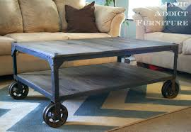Full Size of Coffee Table:coffee Table Industrial Roundetal Cart Caster  Setindustrial With Wheels Plans ...