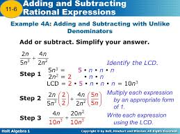 holt algebra adding and subtracting rational expressions warm up
