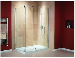 walk in shower enclosure with curved panel and silver effect frame