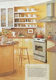 Yellow And Brown Kitchen Bright Yellow Kitchen Brown Tile Backsplash Maybe Yellow Walls