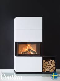 the contura is now available in white metal match the insert with an easy to position black log box