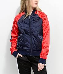 FILA Petra Navy & Red Quilted Bomber Jacket | Zumiez & FILA Petra Navy & Red Quilted Bomber Jacket ... Adamdwight.com
