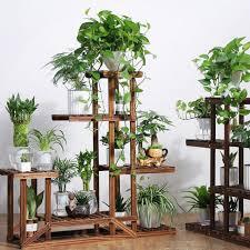 wooden plant flower herb display stand shelf storage rack outdoor 7 pots holder for