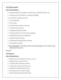 sap implementation - Sap Basis Resume Format