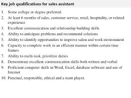 Sales Assistant Responsibilities Under Fontanacountryinn Com