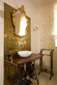 Gold Bathroom Gold Bathroom With Mirror In Gold Antique Frame And Sink Table