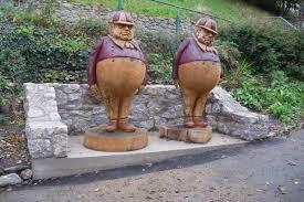 tweedle dum and tweedle dee sculptures are now at llandudno s haulfre gardens