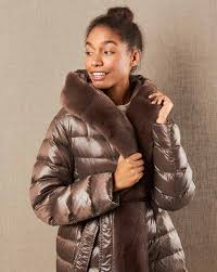 Down jacket with belt and fur hood — <b>12Storeez</b>