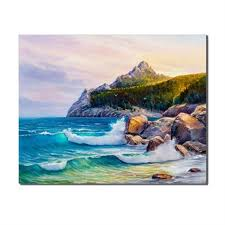 <b>Laeacco</b> Seaside Landscape Modern Oils <b>Painting Canvas</b> Poster ...