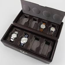home watches storage tools ola del tempo dark brown leather watch box for 8 watches