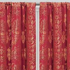 Pencil Pleat Red Jacquard Living Room Curtains | Imperial Rooms