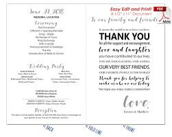 Thank You Message Wedding Program Fan Cool Colors