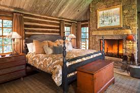 log cabin decorating bedroom rustic with reclaimed timbers stone mantel