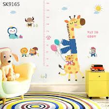 Us 5 31 31 Off Cartoon Giraffe Height Measure Wall Sticker For Children Room Pvc Growth Chart Home Decals Animal Mural Art Wallposter In Wall