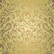 Bloemen Groene Bruine Vintage Behang Retro Achtergrond Ontwerp