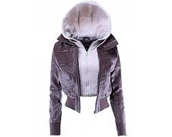 las code women s hooded layered zip up cropped biker faux leather jacket lcja059 coffee oatmeal