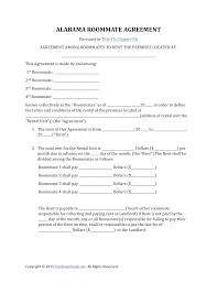 Roommate Rental Agreement Download Alabama Roommate Rental Lease Agreement PDF RTF Word 13