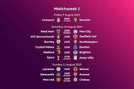 premier league fixtures for 2019 20
