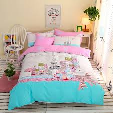 aqua pink and white eiffel tower print paris city scene french style 100 cotton girls twin full size bedding sets