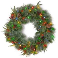 Battery Pack Lights For Wreath National Tree Company 24 In Colonial Artificial Wreath With Battery Operated Dual Color Led Lights