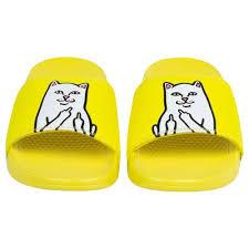 Amazon Com Ripndip Lord Nermal Slides Safety Yellow Clothing