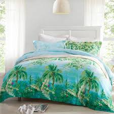 forest green ocean blue and aqua palm tree print nautical tropical hawaiian style country chic 100 tencel full queen size bedding sets
