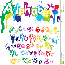 hand drawn alphabet letters are made of water c