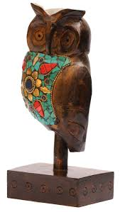 whole owl figurine in bulk 7 hand carved wood owl statue sitting on plinth with