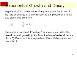 growth equation math exponential growth and decay growth and decay diffeial equation mathalino