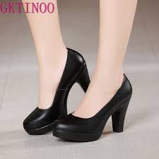 gktinoo genuine leather shoes women round toe pumps sapato feminino high heels shallow fashion black work