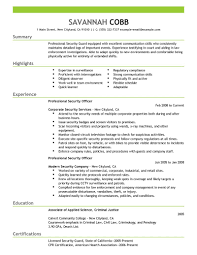 Security Guard Sample Resume Example Security Officer Resume Examples And Samples Professional Security 1